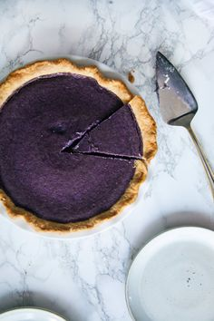 Maple Purple Potato Pie, a remix on the classic sweet potato pie. Recipe from North Dixie Kitchen