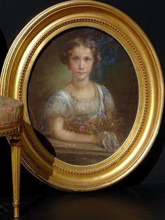 Portrait De Fillette Au Bouquet Ravissant Pastel Epoque Louis-philippe, ARTE TRES GALLERY, Proantic