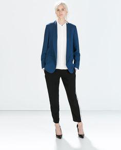 b4d7e98467 Shop Women s Zara Blue size S Blazers at a discounted price at Poshmark.  Description  Zara soft blazer with tuxedo collar.