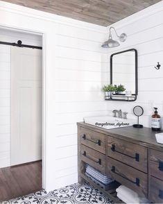 DIY vanity, shiplap, barndoor