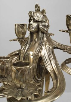 Pair of Silvered Art Nouveau Candelabra By WMF image 9