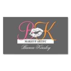 229 best Artist Business Cards images on Pinterest in 2018     Makeup Artist Monograms Business Cards Pink Grey