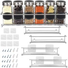 *pinitforlater *findoutmore studio apartment storage.   Spice Rack Organizer for Cabinet, Door Mount, or Wall Mounted - Set of 4 Chrome Tiered Hanging Shelf for Spice Jars - Storage in Cupboard, Kitchen or Pantry - Display bottles on shelves, in cabinets #studioapartmentstorage