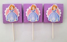 Sofia the First inspired lollipop candy favors (set of 12). $15.00, via Etsy.