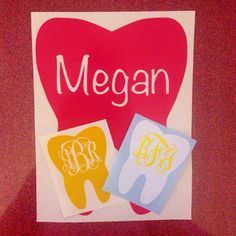 Dental Tooth Monogram Vinyl Decal by TheBlueRaspberryShop on Etsy, $3.00