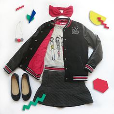 #dpam #mode #enfant #fille #collection #hiver #teddy #blouson #jupe #teeshirt #fashion #kid #girl #winter #varsity #jacket #skirt #outfit #ootd #outfitgrid