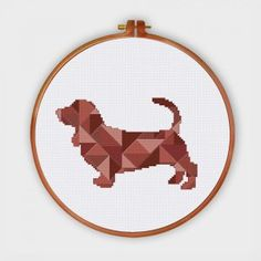 Geometric Sausage Dog cross stitch pattern