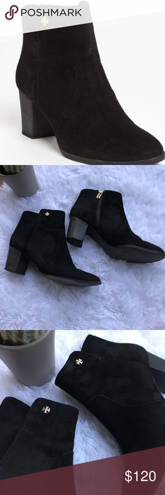 """Tory Burch Sabe Black Suede Booties Tory Burch 'Sabe' booties in very good used condition. Some signs of wear on the soles but otherwise excellent condition. See pictures for details!  DETAILS & CARE  A diminutive logo tips the soft suede of a classic ankle bootie.  2 1/2"""" heel (size 8.5).  3 3/4"""" boot shaft.  Side zip closure.  Suede upper/leather lining and sole.  By Tory Burch; imported.  Salon Shoes.  Item #672094 Tory Burch Shoes Ankle Boots & Booties"""