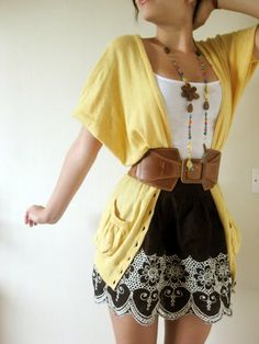 Oversized Cardigan, Vest Top, Waistbelt, Skirt, Necklace