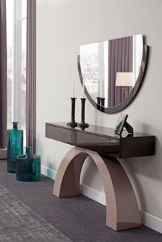 Contemporary console tables are essential to design pieces in any modern interior. Luxury Furniture, Furniture Decor, Furniture Design, Mirror Furniture, Luxury Interior Design, Interior Design Inspiration, Spiegel Design, Living Room Accessories, Modern Console Tables