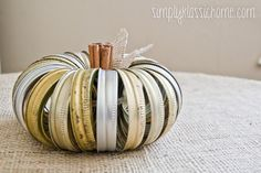 DIY fall decorating idea: Fall pumpkin made from old canning lids