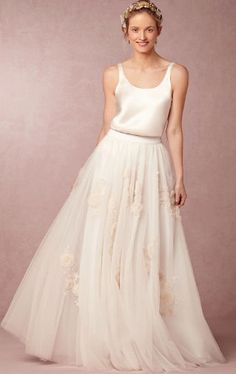 Gorgeous skirt and camisole wedding dress set @BHLDN