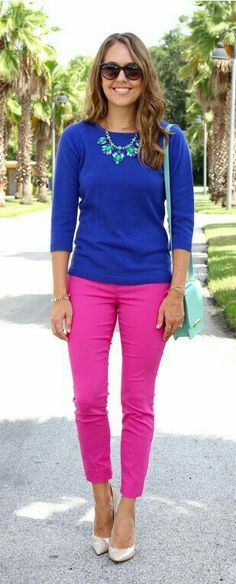 I'm not one for bright pink, but I like the style of these pants.