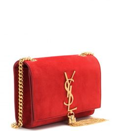 d00d8779b5 Red suede crossbody monogram purse with tassel by YSL Saint Laurent Purse,  Chanel Handbags,