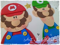 Mario Bros de eva Mario E Luigi, Super Mario And Luigi, Super Mario Party, Foam Crafts, Diy And Crafts, Paper Crafts, Kindergarten Crafts, Class Decoration, Punch Art
