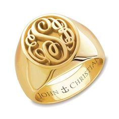 John Christian Man's Camden Monogram Ring 14K Yellow or White - also available in 14K Yellow & PūrLuxium™, 14K Yellow & White, 18K Yellow, or Platinum