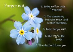 Adams Park Relief Society Adventures: Forget me Not - Lesson Summary