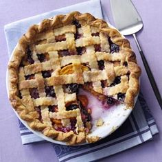 Peach Blueberry Pie. DELICIOUS. I made this with home-made crust (full top & bottom, not lattice).