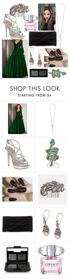 """Slytherin Yule Ball updated"" by nerdyintrovert ❤ liked on Polyvore featuring Clarisse, Boucheron Estate, Pelle Moda, Sidney Garber, Avenue, Reiss, NOVICA, NARS Cosmetics and Versace"