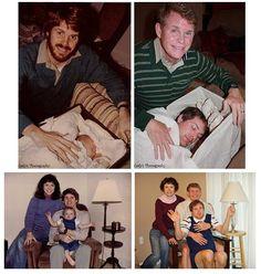 Hilarious Then & Now Photos haha we need to reenact one ! Cute Photos, Funny Photos, Funny Cute, Hilarious, Then And Now Photos, 5sos, Family Humor, Funny Family, Photo Recreation