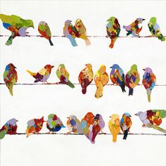 Jennifer Lommers '27 Birds' Giclee Print Canvas Wall Art - Overstock Shopping - Top Rated Canvas