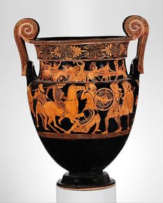 Terracotta volute-krater (bowl for mixing wine and water) Attributed to the Painter of Woolly Satyrs  (namepiece) Period: Classical Date: ca. 450 B.C. Culture: Greek, Attic Medium: Terracotta; red-figure Dimensions: H. 25 in. (63.5 cm) Classification: Vases