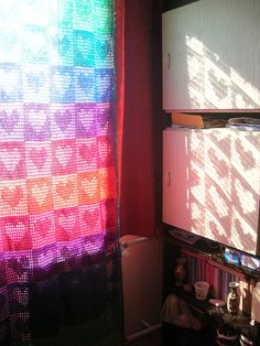 Rainbow Hearts Filet Crochet Afghan / Curtain - filet crochet