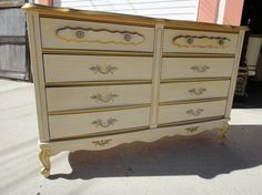 French Provincial 6 Drawer Dresser Cream and Gold Los Angeles by housecandyla, $199.00