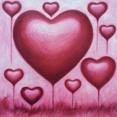 Hearts Balloons In Pink Sky by Yen Leaw