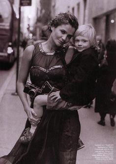 Helena Christensen and son Mingus by Peter Lindbergh for Harper's Bazaar February 2005