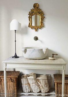 Renovation Inspiration: Using Vintage Furniture as Bathroom Sink Cabinets & Consoles Bathroom Sink Cabinets, Sink Faucets, Vessel Sink, Wall Faucet, Basin Sink, Bowl Sink, Bathroom Mirrors, Bad Inspiration, Bathroom Inspiration