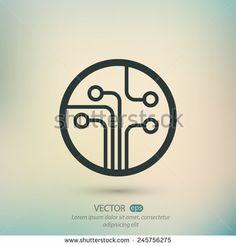 Circuit board, technology icon, vector illustration. Flat design style - stock vector