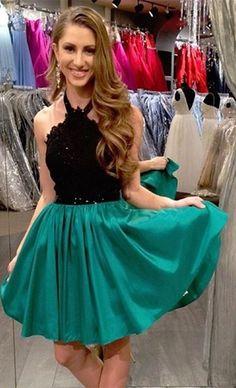 Lace Halter Short A-Line Sleeveless Black Mini Homecoming Dress,Sweetheart dress