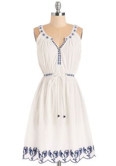 Santorini Sweetie Dress - White, Blue, Solid, Embroidery, Casual, Boho, Festival, A-line, Sleeveless, Better, Mid-length, Woven