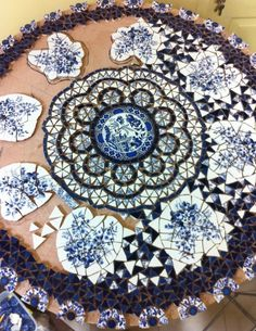 Broken plate mosaic in progess... Nira Ben David Peled, Israel.