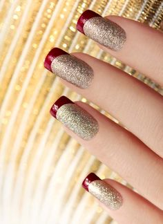 Red and Sparkly Gold Nails -- love the red tip, so cute!