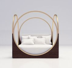 LUXURY FURNITURE |  a very original bed design, brass circles on the side  | www.bocadolobo.com/ #luxuryfurniture #designfurniture #luxuryfurnituredesign