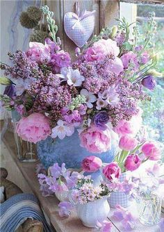 Peonies, lilac and freesias bouquet My Flower, Fresh Flowers, Beautiful Flowers, Pastel Flowers, Summer Flowers, Flower Diy, Beautiful Bouquets, Shabby Flowers, Romantic Flowers
