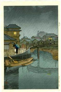 HASUI - Japanese Woodblock Print RAINY SEASON 1931 |