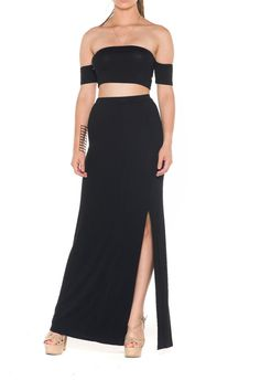 Sexy Black Set. Looks great with metallic accessories for date night! This two piece set includes off the shoulder top and long skirt with slits.   Sexy Black Set by Bella. Clothing - Matching Sets Florida