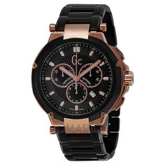 Guess Collection GC-4 Executive Chronograph Black and Rose Gold PVD Mens Watch X66003G2S