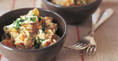 Roasting the pumpkin in honey first is the secret to the beautiful flavour in this risotto.