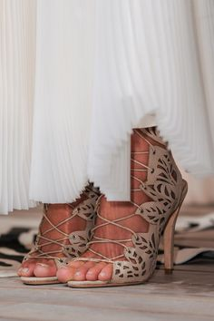 Alice + Olivia Nude Lace-Up Sandals Spring 2014 RTW #Shoes #Heels