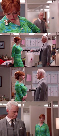 #MadMen - Regardless of its nature, though, he clearly has some sort of bond or relationship with Joan, who keeps getting put in green and blue ensembles whenever she deals with that bond in the office. Anyway: #blue and #green: confronting Roger and telling him how it's gonna be. Roger in his blue and yellow tie: failing to connect. Mad Style: The Better Half | Tom & Lorenzo
