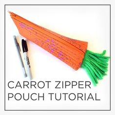 VIDEO TUTORIAL by @CraftyGemini for this cute carrot zipper pouch! So many uses! Great for back-to-school.