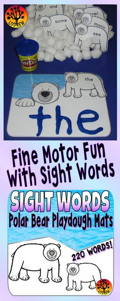 56 pages of sight word centers featuring all 220 Dolch sight words. Activities include sight word recognition, spelling, fine motor, winter activities, polar bear centers, reading strategies, letter matching, and more. For kindergarten, preschool, first grade, primary, SPED, child care, homeschool, or any early childhood setting.