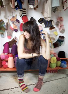 Lindsay Degen will be selling her namesake line of hand-knit socks and lingerie as singles so as to encourage mismatching.
