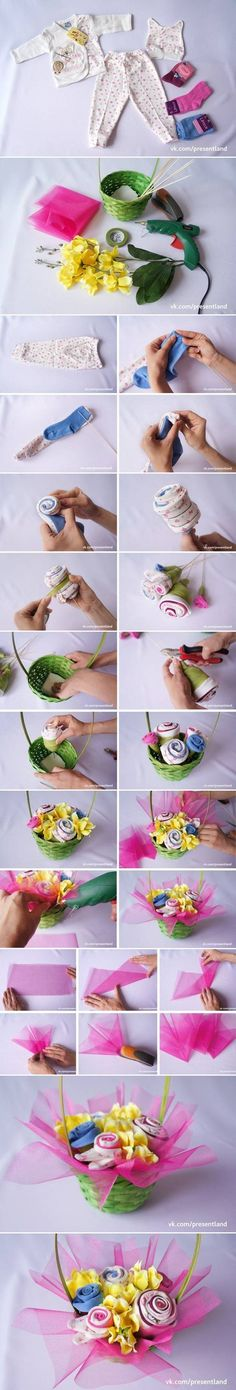 How to DIY Baby Clothes Flower Bouquet #craft #baby_shower