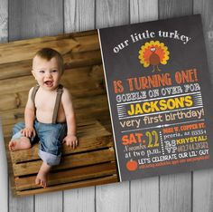 Thanksgiving Invitation 1st Birthday Invitation by CLaceyDesign, $15.00