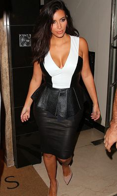 Kim Kardashian was spotted leaving the Annabels club in London in a revealing black-and-white peplum number.